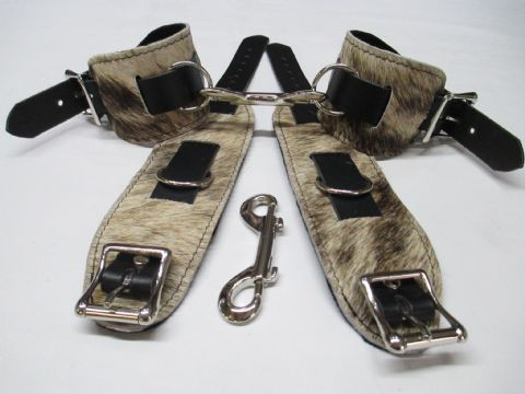 Cream/Brown Hair on Hide Leather 4 Piece Restraint Cuffs Set (Wrist & Ankles (HOH6)